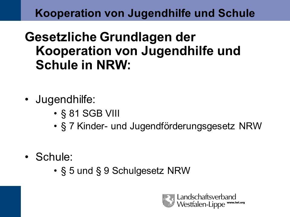 Kooperation von Jugendhilfe und Schule Gesetzliche Grundlagen der Kooperation von Jugendhilfe und Schule in NRW: Jugendhilfe: § 81 SGB VIII § 7 Kinder