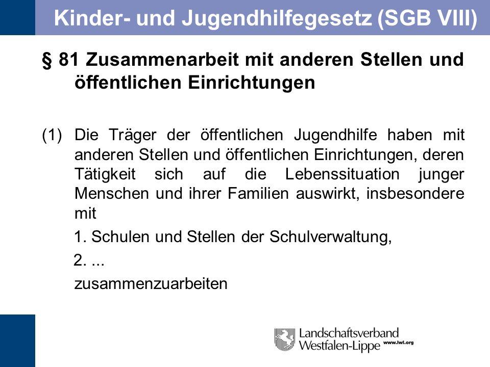 Kinder- und Jugendhilfegesetz (SGB VIII) § 81 Zusammenarbeit mit anderen Stellen und öffentlichen Einrichtungen (1)Die Träger der öffentlichen Jugendh