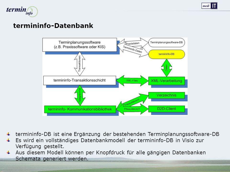 termininfo-Datenbank termininfo-DB ist eine Ergänzung der bestehenden Terminplanungssoftware-DB Es wird ein vollständiges Datenbankmodell der termininfo-DB in Visio zur Verfügung gestellt.