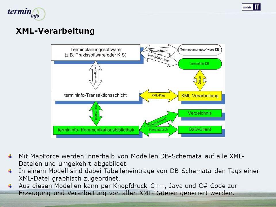 XML-Verarbeitung Mit MapForce werden innerhalb von Modellen DB-Schemata auf alle XML- Dateien und umgekehrt abgebildet.