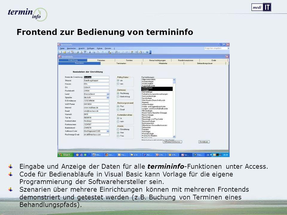 Eingabe und Anzeige der Daten für alle termininfo-Funktionen unter Access.