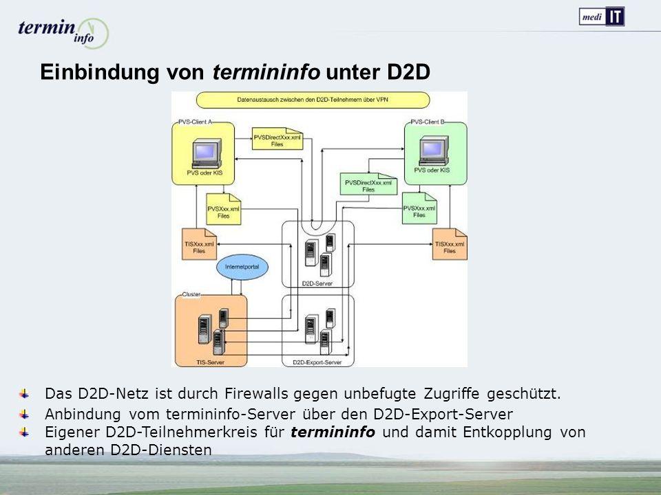 Einbindung von termininfo unter D2D Das D2D-Netz ist durch Firewalls gegen unbefugte Zugriffe geschützt.