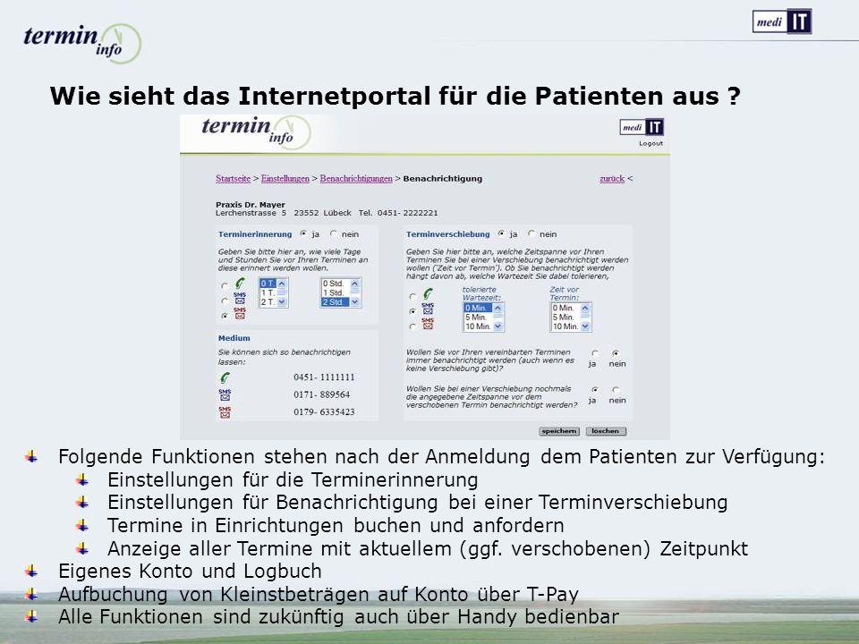Wie sieht das Internetportal für die Patienten aus .