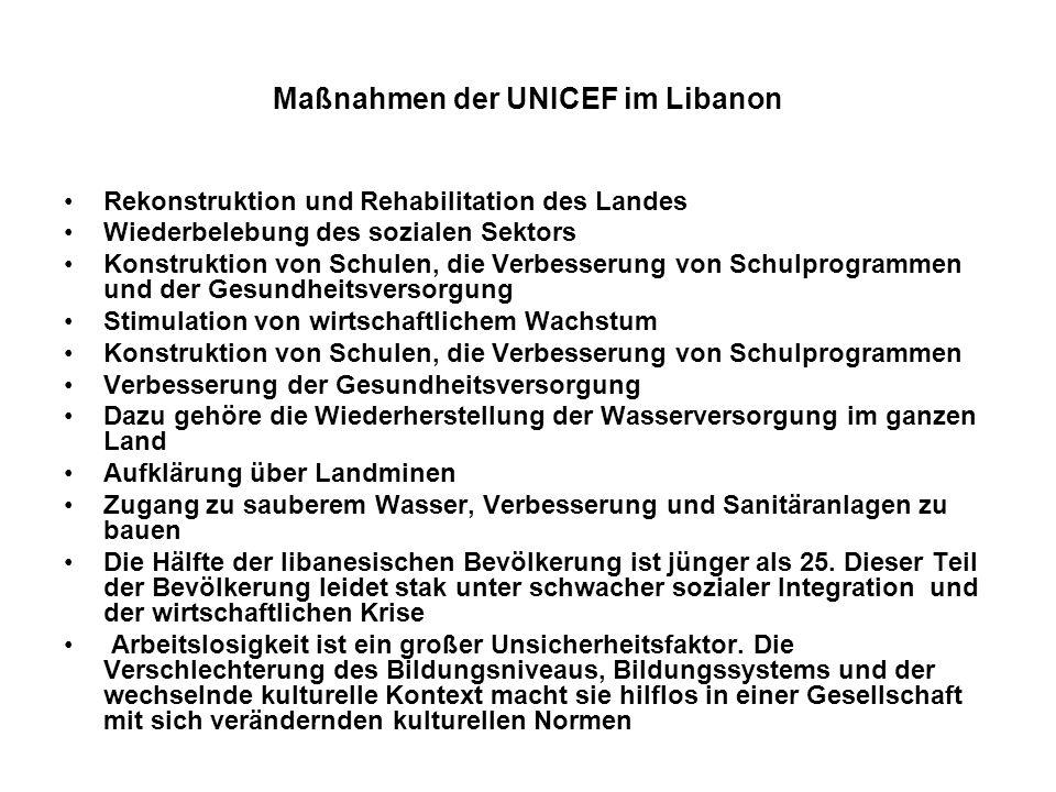 Maßnahmen der UNICEF im Libanon Rekonstruktion und Rehabilitation des Landes Wiederbelebung des sozialen Sektors Konstruktion von Schulen, die Verbess