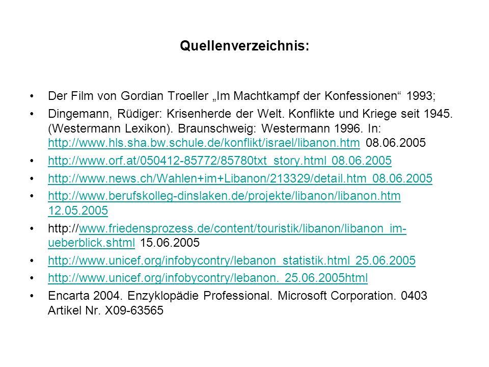 Quellenverzeichnis: Der Film von Gordian Troeller Im Machtkampf der Konfessionen 1993; Dingemann, Rüdiger: Krisenherde der Welt. Konflikte und Kriege