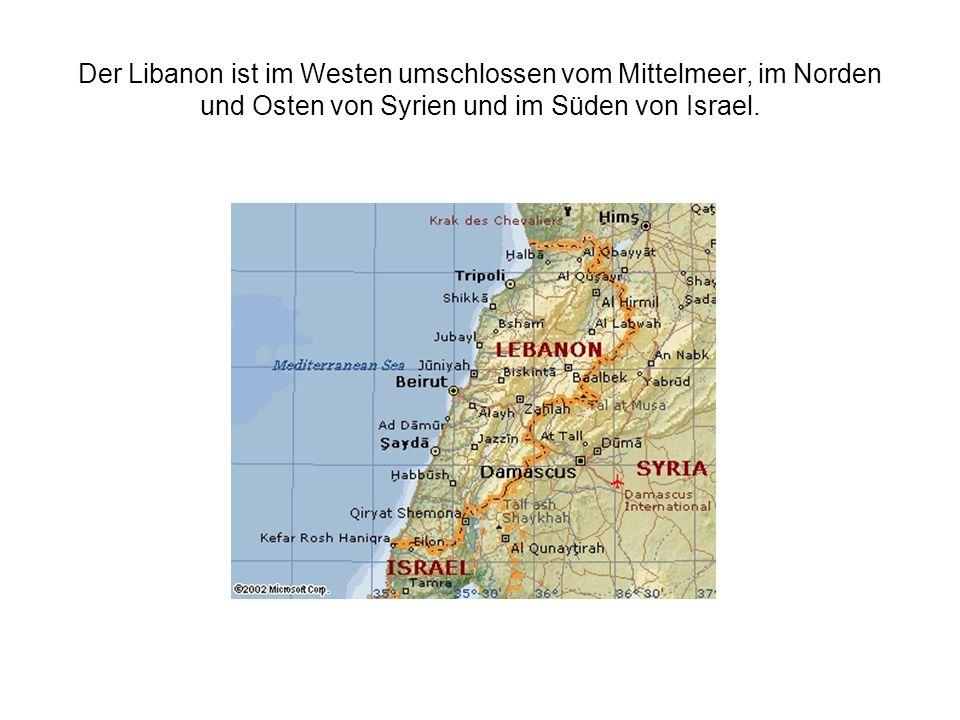Der Libanon ist im Westen umschlossen vom Mittelmeer, im Norden und Osten von Syrien und im Süden von Israel.