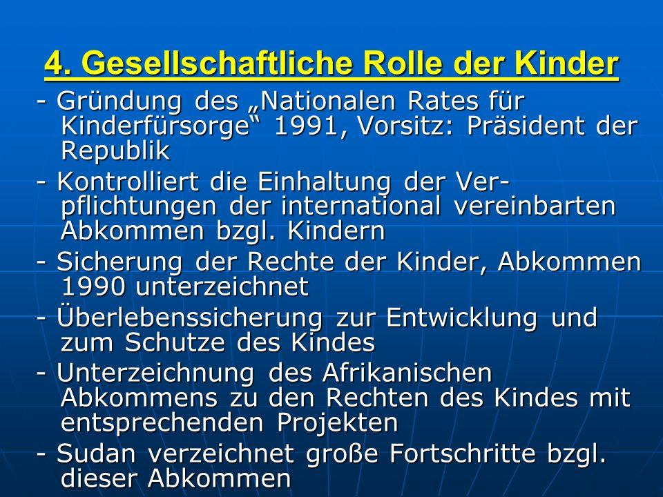 4. Gesellschaftliche Rolle der Kinder - Gründung des Nationalen Rates für Kinderfürsorge 1991, Vorsitz: Präsident der Republik - Kontrolliert die Einh