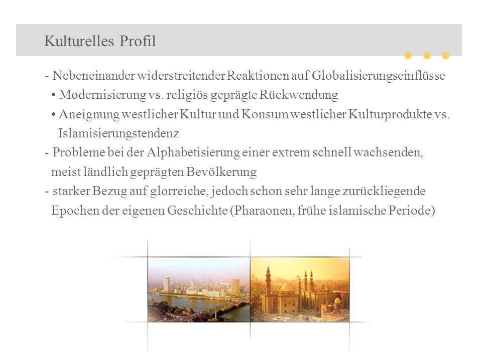 Kulturelles Profil - Nebeneinander widerstreitender Reaktionen auf Globalisierungseinflüsse Modernisierung vs. religiös geprägte Rückwendung Aneignung
