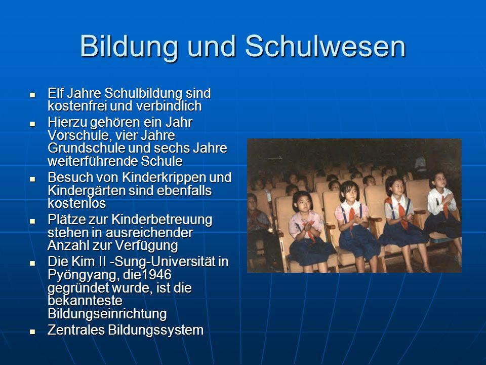 Bildung und Schulwesen Elf Jahre Schulbildung sind kostenfrei und verbindlich Elf Jahre Schulbildung sind kostenfrei und verbindlich Hierzu gehören ei