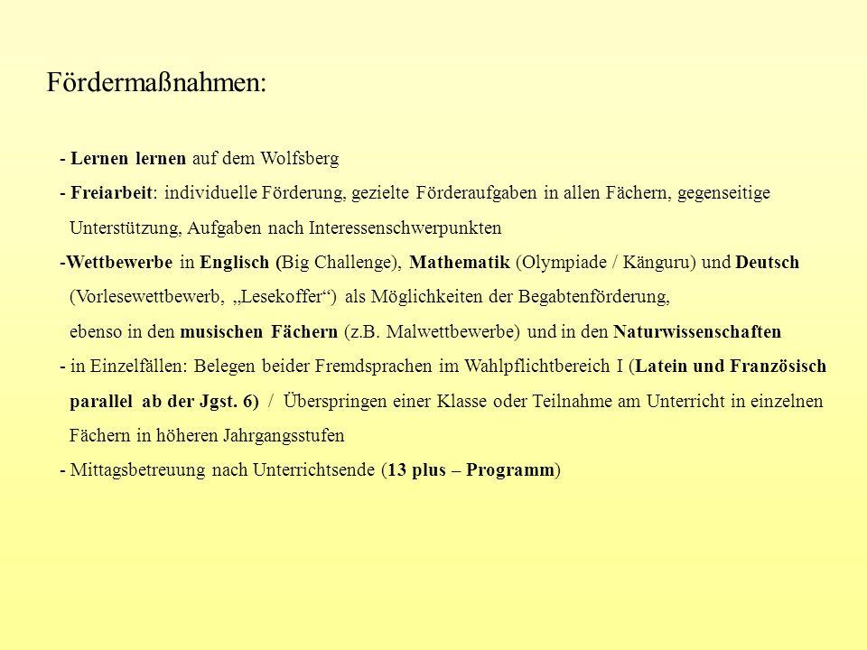 Fördermaßnahmen: - Lernen lernen auf dem Wolfsberg - Freiarbeit: individuelle Förderung, gezielte Förderaufgaben in allen Fächern, gegenseitige Unters