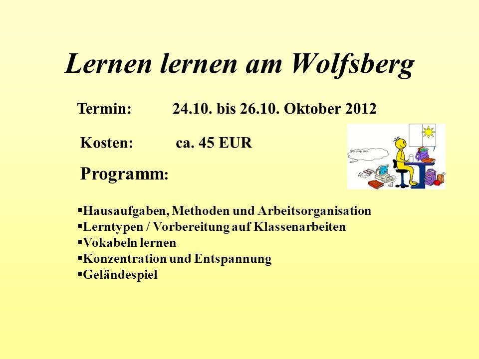 Lernen lernen am Wolfsberg Termin:24.10. bis 26.10. Oktober 2012 Kosten:ca. 45 EUR Programm : Hausaufgaben, Methoden und Arbeitsorganisation Lerntypen