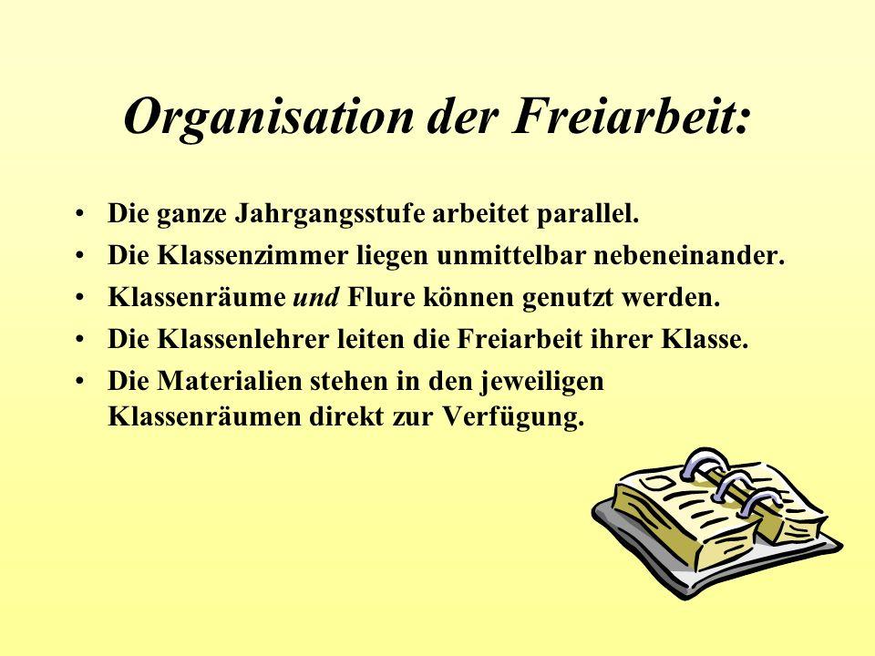 Organisation der Freiarbeit: Die ganze Jahrgangsstufe arbeitet parallel. Die Klassenzimmer liegen unmittelbar nebeneinander. Klassenräume und Flure kö