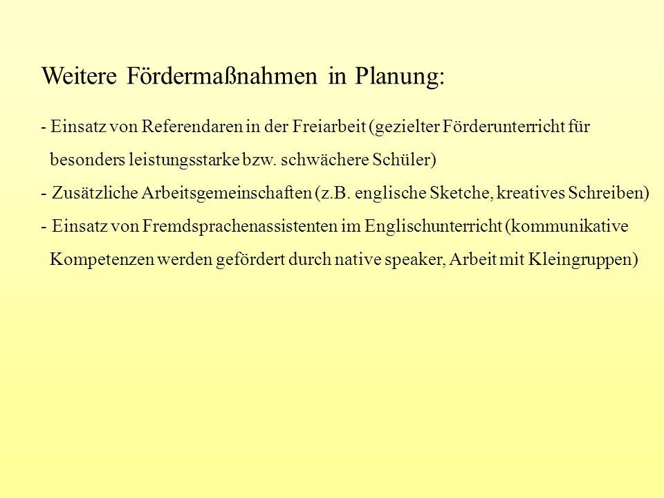 Weitere Fördermaßnahmen in Planung: - Einsatz von Referendaren in der Freiarbeit (gezielter Förderunterricht für besonders leistungsstarke bzw. schwäc