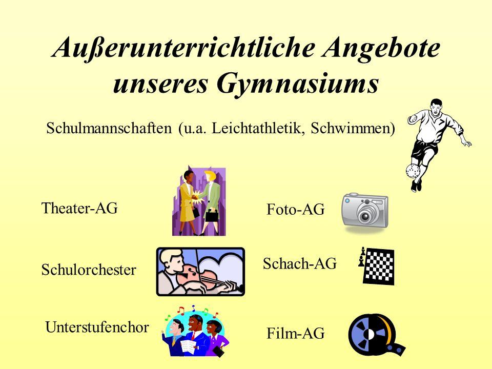 Außerunterrichtliche Angebote unseres Gymnasiums Schulmannschaften (u.a. Leichtathletik, Schwimmen) Theater-AG Schulorchester Unterstufenchor Foto-AG