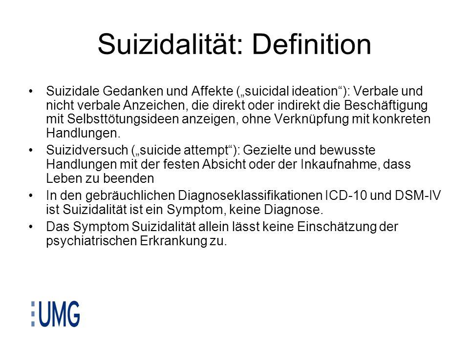 Suizidalität: Definition Suizidale Gedanken und Affekte (suicidal ideation): Verbale und nicht verbale Anzeichen, die direkt oder indirekt die Beschäf