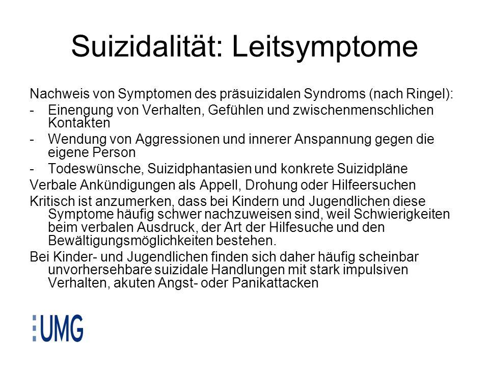 Suizidalität: Leitsymptome Nachweis von Symptomen des präsuizidalen Syndroms (nach Ringel): -Einengung von Verhalten, Gefühlen und zwischenmenschliche