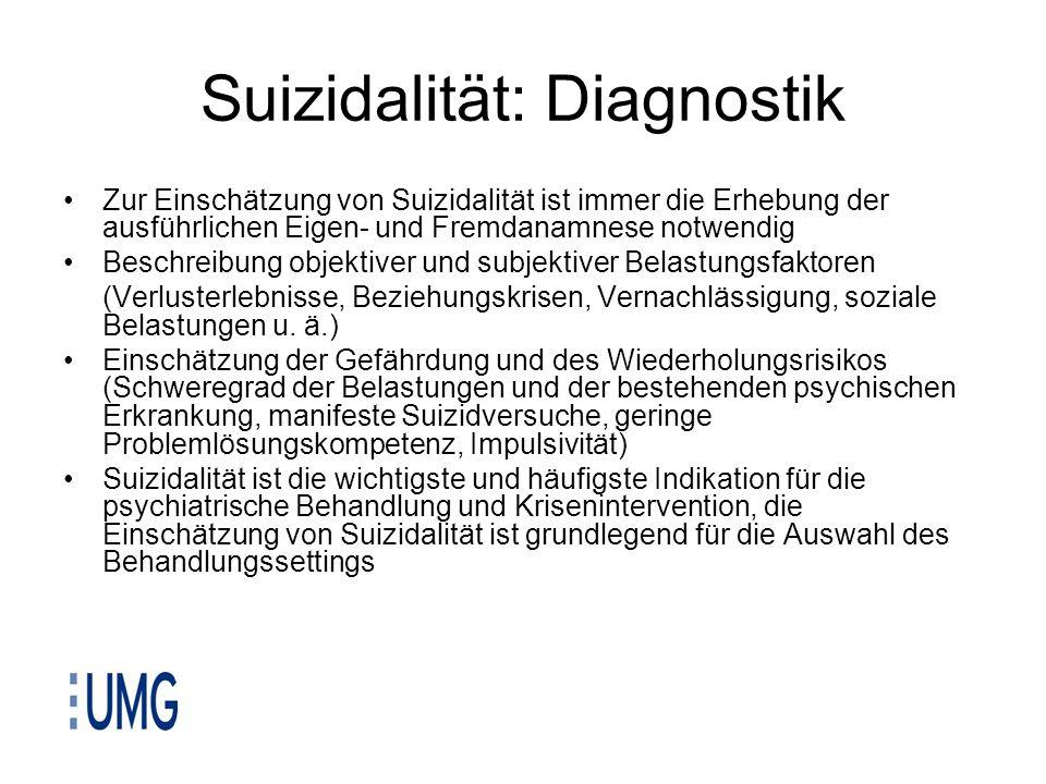 Suizidalität: Diagnostik Zur Einschätzung von Suizidalität ist immer die Erhebung der ausführlichen Eigen- und Fremdanamnese notwendig Beschreibung ob
