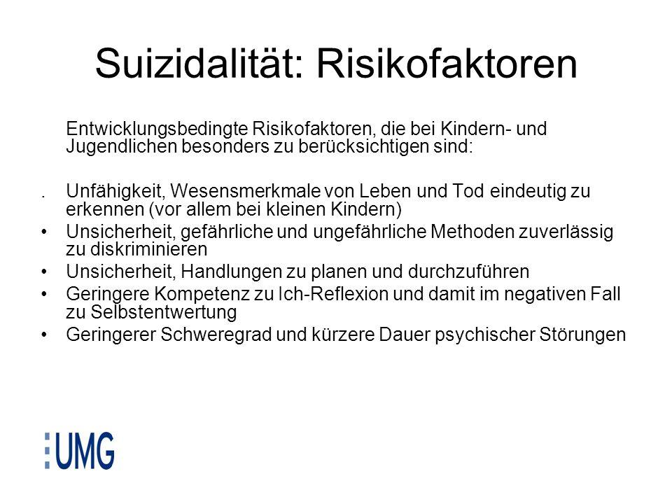 Suizidalität: Risikofaktoren Entwicklungsbedingte Risikofaktoren, die bei Kindern- und Jugendlichen besonders zu berücksichtigen sind:.Unfähigkeit, We