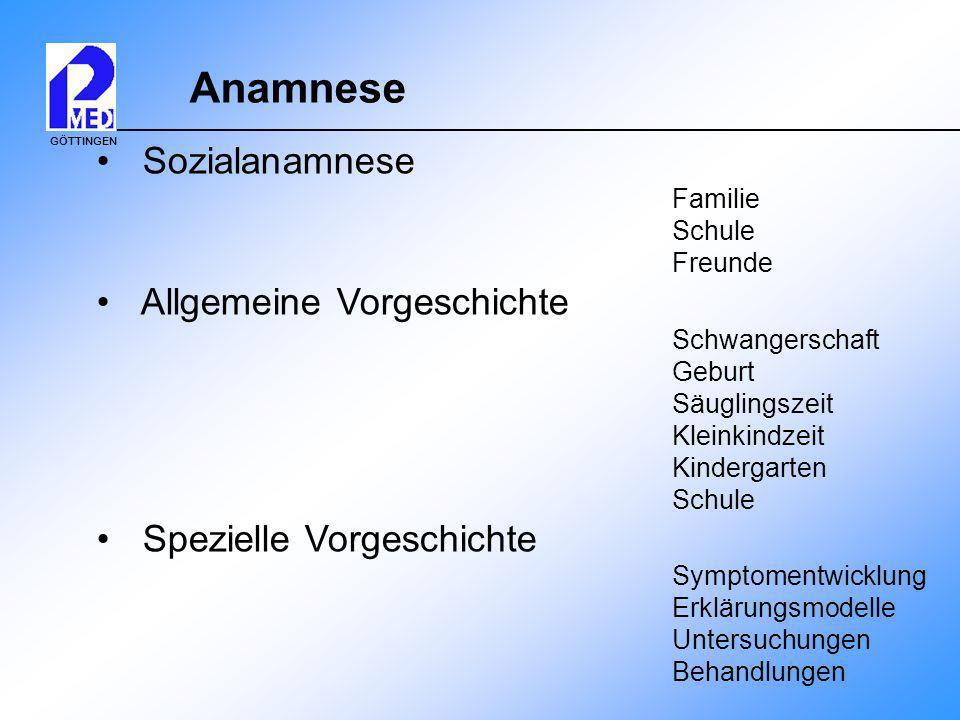 GÖTTINGEN Anamnese Sozialanamnese Familie Schule Freunde Allgemeine Vorgeschichte Schwangerschaft Geburt Säuglingszeit Kleinkindzeit Kindergarten Schu