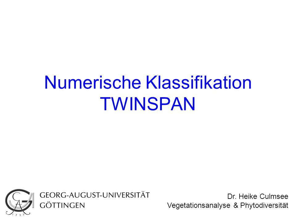 Numerische Klassifikation TWINSPAN Dr. Heike Culmsee Vegetationsanalyse & Phytodiversität