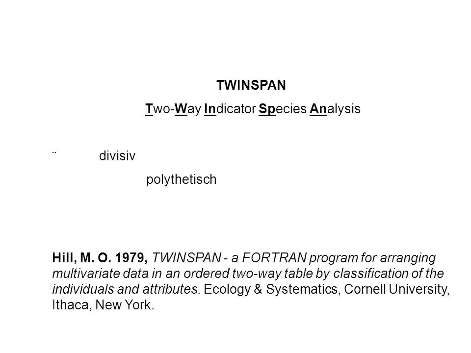TWINSPAN - Schritt für Schritt 1.Ordination des Datensatzes (Korrespondenzanalyse, CA) 2.Ermittlung der Werte der CA-Achse 1 für alle Bestände (Aufnahmen) 3.Ermittlung des Mittelwertes der CA-Achse-1-Werte 2 Gruppen von Aufnahmen