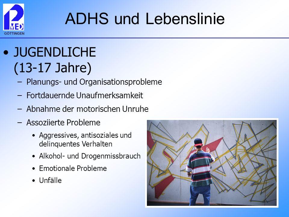 GÖTTINGEN ADHS und Lebenslinie JUGENDLICHE (13-17 Jahre) –Planungs- und Organisationsprobleme –Fortdauernde Unaufmerksamkeit –Abnahme der motorischen