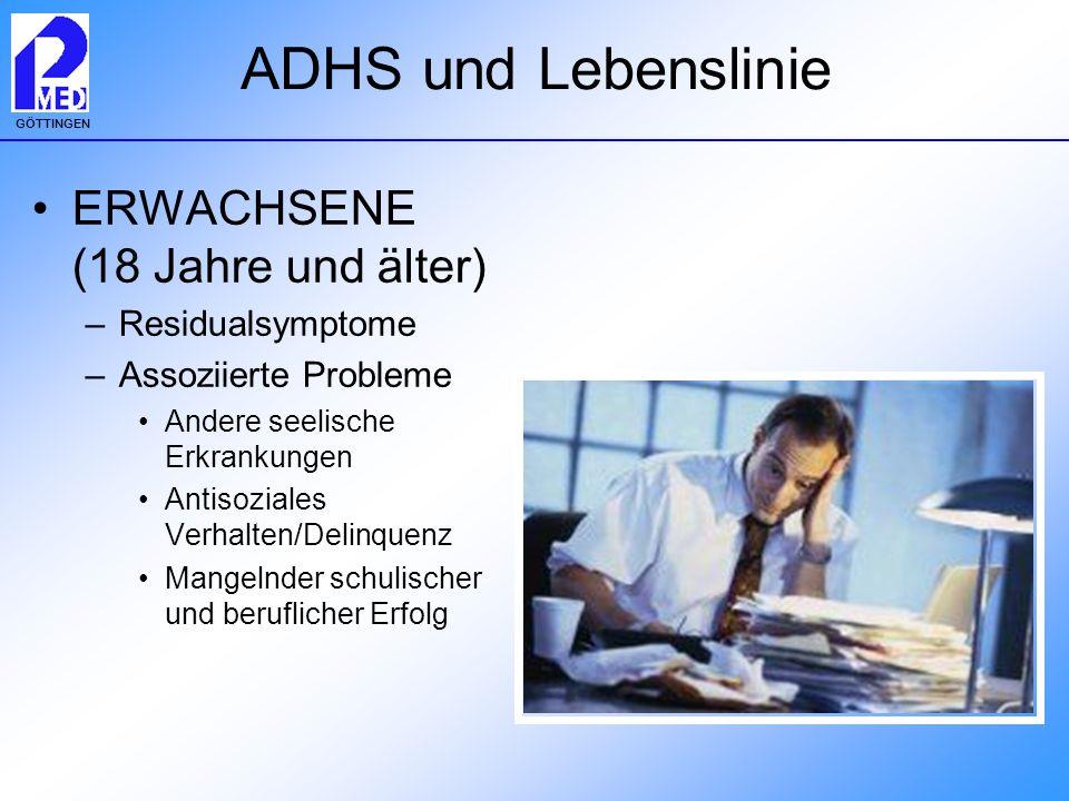 GÖTTINGEN ADHS und Lebenslinie ERWACHSENE (18 Jahre und älter) –Residualsymptome –Assoziierte Probleme Andere seelische Erkrankungen Antisoziales Verh