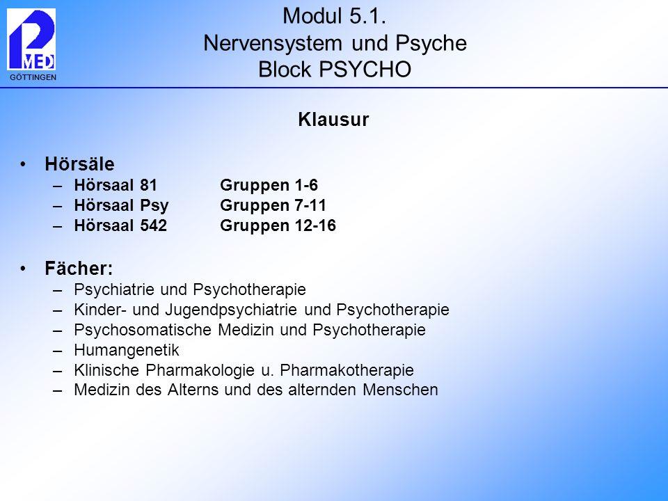 GÖTTINGEN Modul 5.1. Nervensystem und Psyche Block PSYCHO Klausur Hörsäle –Hörsaal 81 Gruppen 1-6 –Hörsaal Psy Gruppen 7-11 –Hörsaal 542 Gruppen 12-16