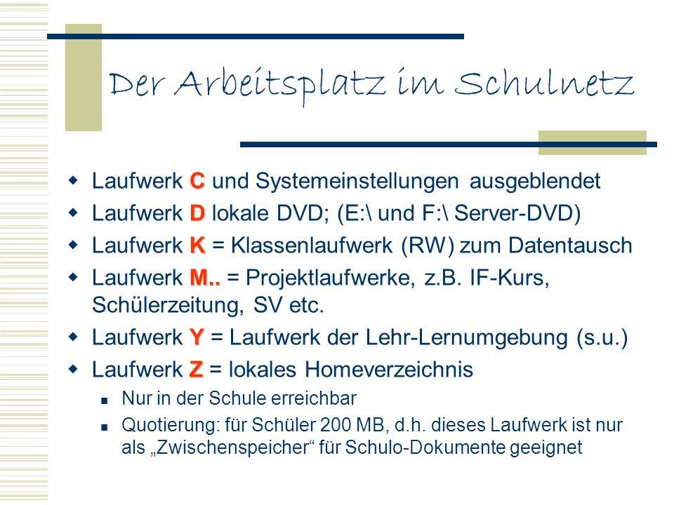 Der Arbeitsplatz im Schulnetz C Laufwerk C und Systemeinstellungen ausgeblendet D Laufwerk D lokale DVD; (E:\ und F:\ Server-DVD) K Laufwerk K = Klass