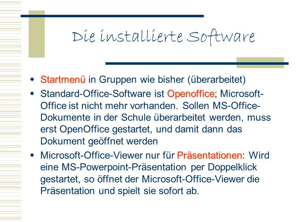 Die installierte Software Startmenü Startmenü in Gruppen wie bisher (überarbeitet) Openoffice Standard-Office-Software ist Openoffice; Microsoft- Offi