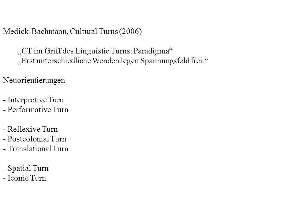Medick-Bachmann, Cultural Turns (2006) CT im Griff des Linguistic Turns: Paradigma Erst unterschiedliche Wenden legen Spannungsfeld frei.