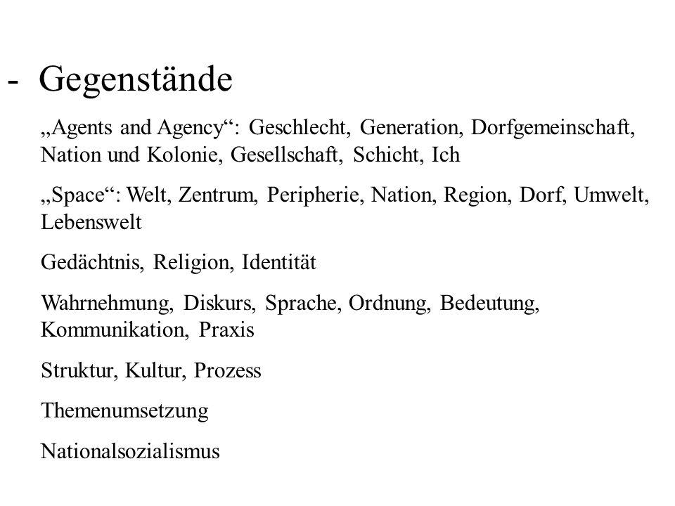 - Debatten mikro, makro, trans, Grenze, liminal global, transnational, lokal, fremd post, meta, hybrid sozial – kulturell Historische Sozialforschung, Alltagsgeschichte, Historische Anthropologie, Kulturgeschichte Strukturalismus, Poststrukturalismus, Postmoderne Linguistic, interpretive, performative, postcolonial, translational, spatial, iconic turn Geertz (Dichte Beschreibung), Foucault (Diskurs), Bourdieu (Habitus, Sozialer Raum), MacLuhan (Medien), Goody (Literalität), Saussure (Sprache), Levi-Strauss (Denken und Zeichensystem), Lyotard (Masterhistory), Derrida (Dekonstruktion), White (Narrative), Koselleck, Skinner (Begriffsgeschichte) Butler (Gender), Said (Orientalismus), Searle (Konstruktivismus) Sonderweg, Totalitarismus, Historikerstreit, Goldhagen, Conze-Schieder, 68