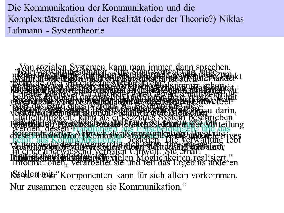 Die Kommunikation der Kommunikation und die Komplexitätsreduktion der Realität (oder der Theorie?) Niklas Luhmann - Systemtheorie Von sozialen Systeme