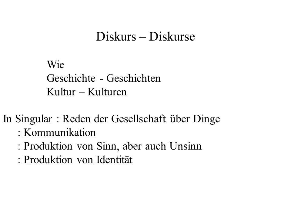 Diskurs – Diskurse Wie Geschichte - Geschichten Kultur – Kulturen In Singular : Reden der Gesellschaft über Dinge : Kommunikation : Produktion von Sin