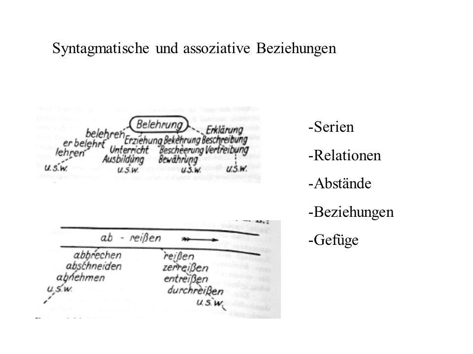 Syntagmatische und assoziative Beziehungen -Serien -Relationen -Abstände -Beziehungen -Gefüge