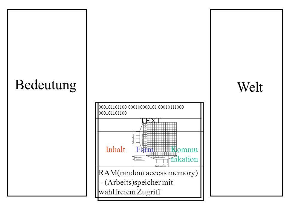 TEXT InhaltFormKommu nikation Sozial determinierte Bedeutungsmaschine 000101101100 000100000101 00010111000 000101101100 RAM(random access memory) – (