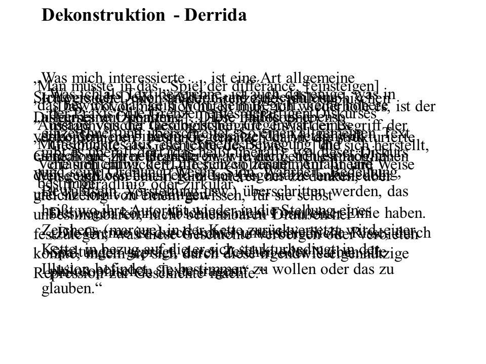 Dekonstruktion - Derrida Das, wovor man sich hüten muß, ich wiederhole es, ist der metaphysische Geschichtsbegriff. Es ist der Begriff der Geschichte
