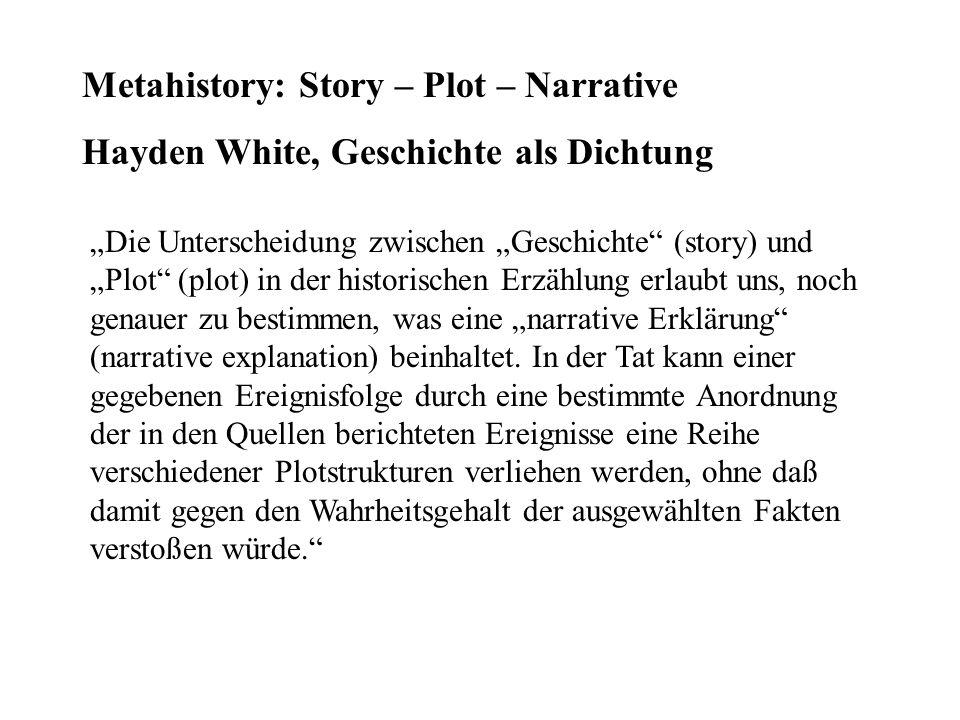 Metahistory: Story – Plot – Narrative Hayden White, Geschichte als Dichtung Die Unterscheidung zwischen Geschichte (story) und Plot (plot) in der hist
