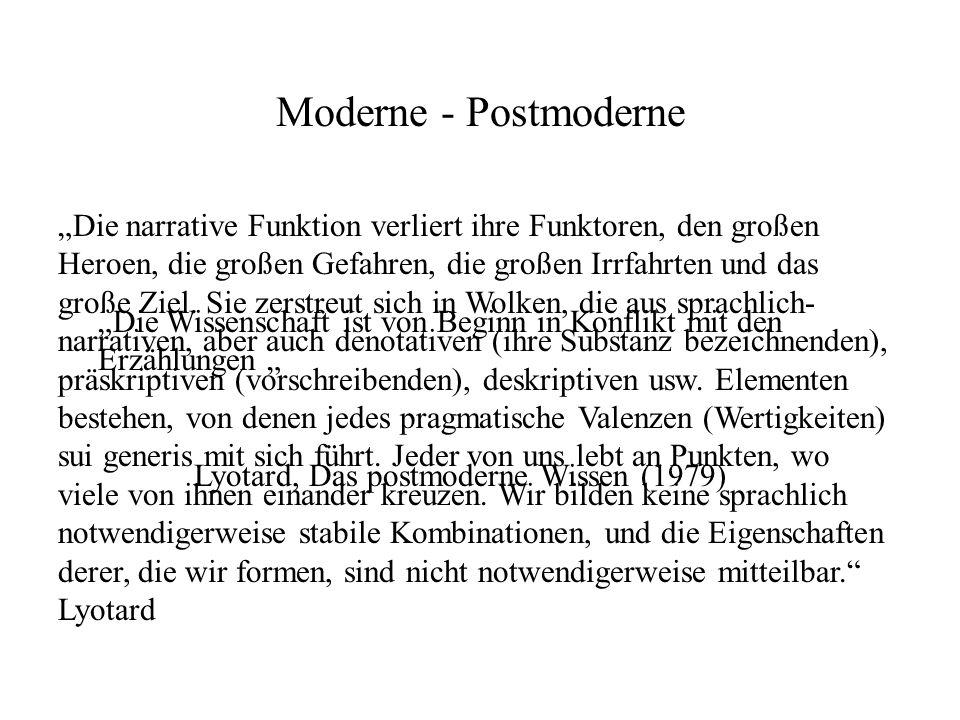 Moderne - Postmoderne Die Wissenschaft ist von Beginn in Konflikt mit den Erzählungen Lyotard, Das postmoderne Wissen (1979) Die narrative Funktion ve