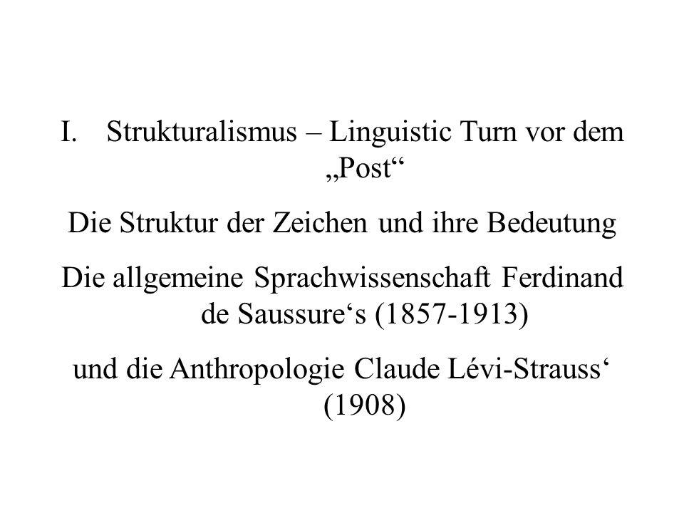 I.Strukturalismus – Linguistic Turn vor dem Post Die Struktur der Zeichen und ihre Bedeutung Die allgemeine Sprachwissenschaft Ferdinand de Saussures