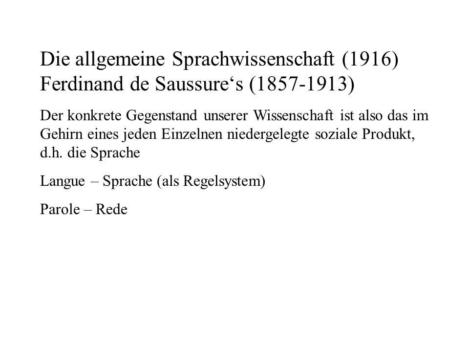 Die allgemeine Sprachwissenschaft (1916) Ferdinand de Saussures (1857-1913) Der konkrete Gegenstand unserer Wissenschaft ist also das im Gehirn eines