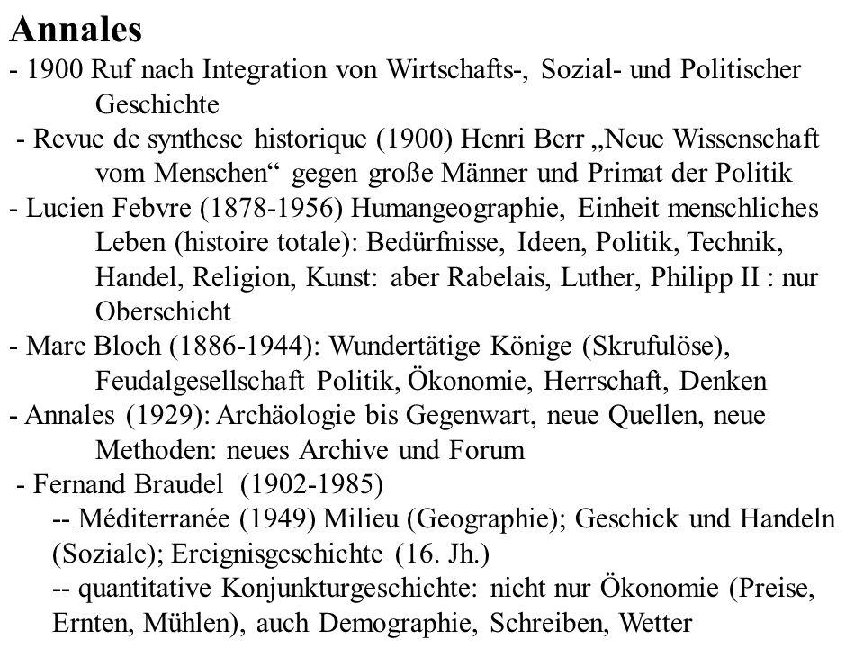 Annales - 1900 Ruf nach Integration von Wirtschafts-, Sozial- und Politischer Geschichte - Revue de synthese historique (1900) Henri Berr Neue Wissens