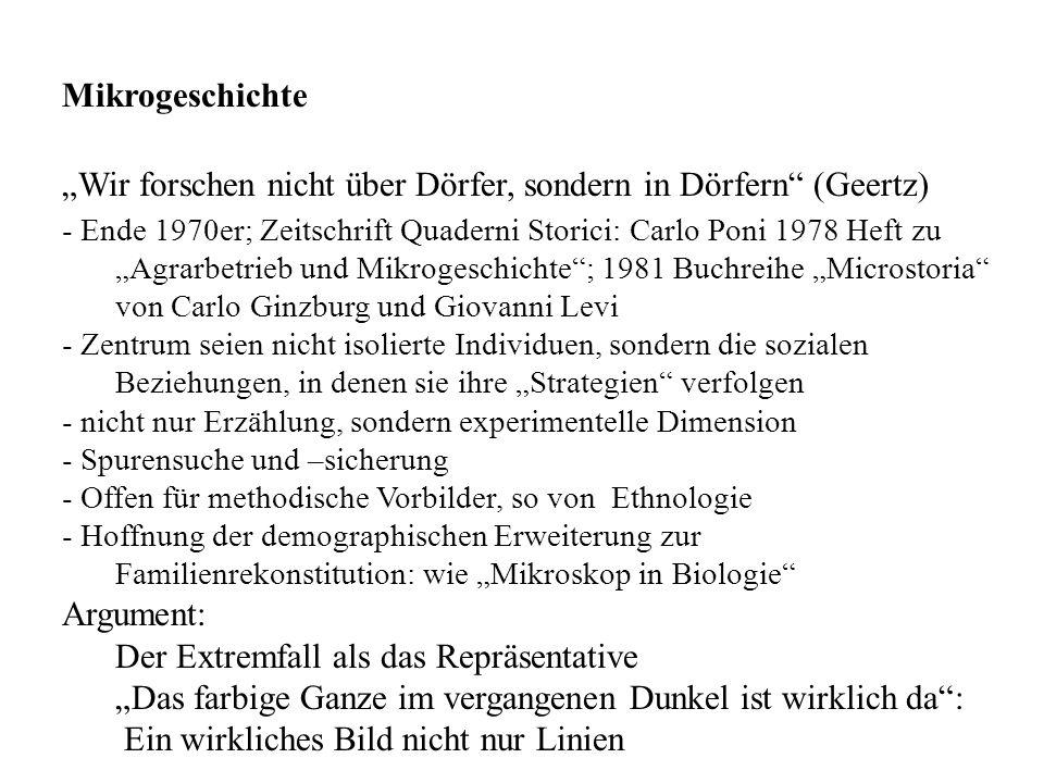 Wir forschen nicht über Dörfer, sondern in Dörfern (Geertz) - Ende 1970er; Zeitschrift Quaderni Storici: Carlo Poni 1978 Heft zu Agrarbetrieb und Mikr