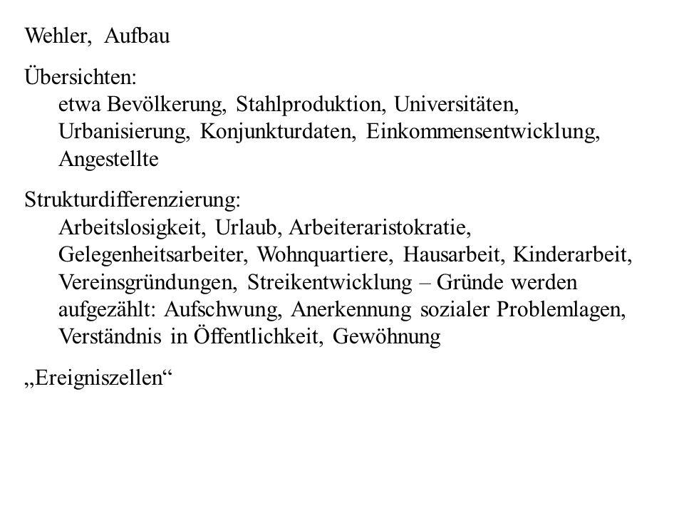 Wehler, Aufbau Übersichten: etwa Bevölkerung, Stahlproduktion, Universitäten, Urbanisierung, Konjunkturdaten, Einkommensentwicklung, Angestellte Struk