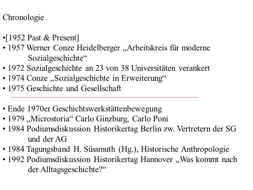 Chronologie [1952 Past & Present] 1957 Werner Conze Heidelberger Arbeitskreis für moderne Sozialgeschichte 1972 Sozialgeschichte an 23 von 38 Universi