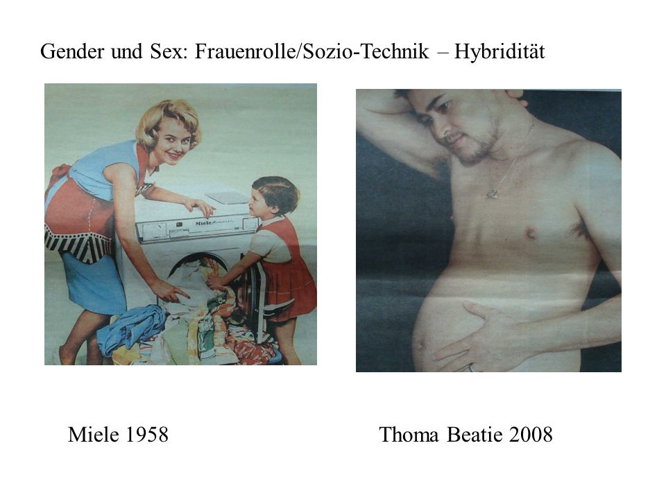 Gender und Sex: Frauenrolle/Sozio-Technik – Hybridität Miele 1958Thoma Beatie 2008