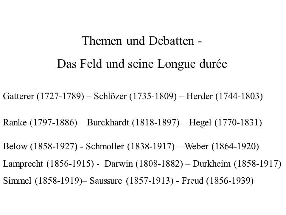 Themen und Debatten - Das Feld und seine Longue durée Gatterer (1727-1789) – Schlözer (1735-1809) – Herder (1744-1803) Ranke (1797-1886) – Burckhardt (1818-1897) – Hegel (1770-1831) Below (1858-1927) - Schmoller (1838-1917) – Weber (1864-1920) Lamprecht (1856-1915) - Darwin (1808-1882) – Durkheim (1858-1917) Simmel (1858-1919)– Saussure (1857-1913) - Freud (1856-1939)