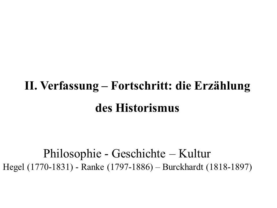 II. Verfassung – Fortschritt: die Erzählung des Historismus Hegel (1770-1831) - Ranke (1797-1886) – Burckhardt (1818-1897) Philosophie - Geschichte –