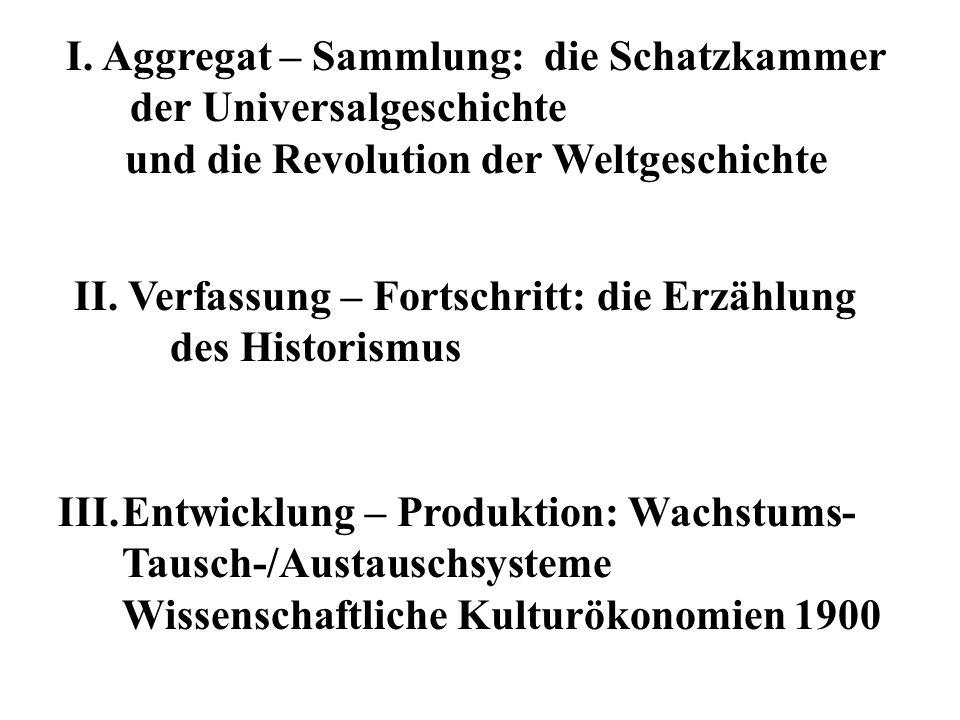 I. Aggregat – Sammlung: die Schatzkammer der Universalgeschichte und die Revolution der Weltgeschichte II. Verfassung – Fortschritt: die Erzählung des