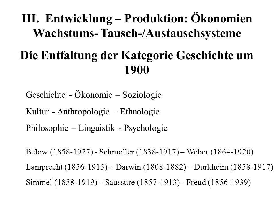 III. Entwicklung – Produktion: Ökonomien Wachstums- Tausch-/Austauschsysteme Die Entfaltung der Kategorie Geschichte um 1900 Geschichte - Ökonomie – S